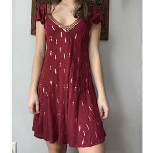 red bead embroidered mini dress